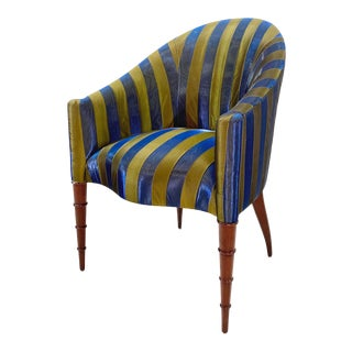 Elegant Upholstered Accent Chair With Turned Legs Attributed to Donghia For Sale