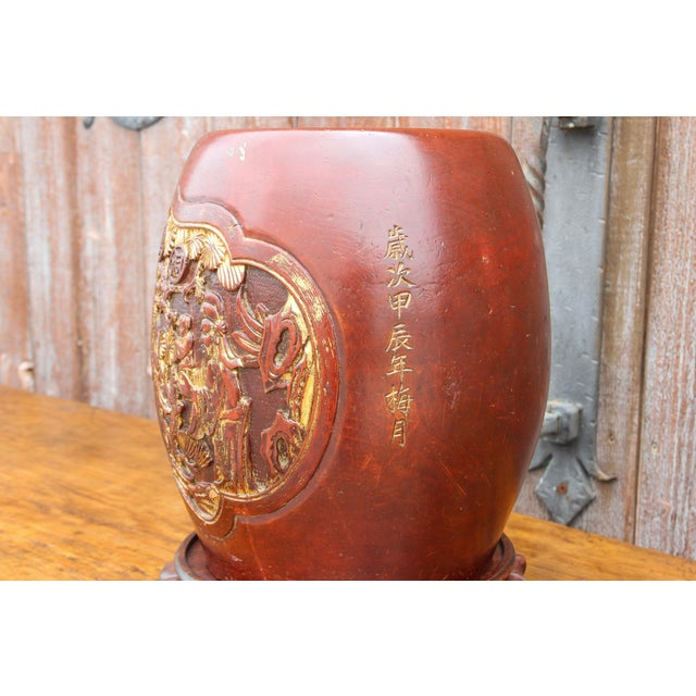 1950s Shou Lao Carved Barrel Container on a Stand For Sale - Image 5 of 11
