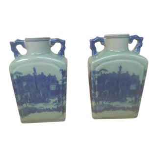 Vintage Blue and White Glazed Pottery Jug/Vases - a Pair
