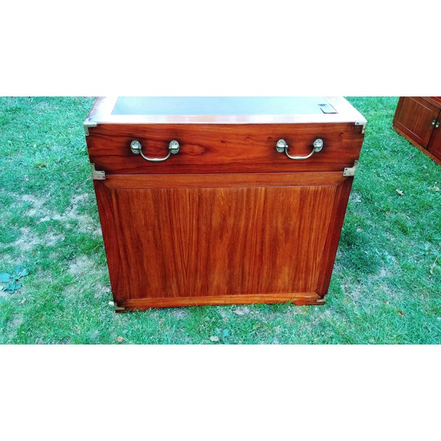 Nautical Traditional Starbay Rosewood Richelieu Leather Top Executive Desk For Sale - Image 3 of 13
