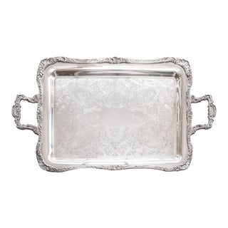 Antique Silver Plate Footed Serving Tray With Handles For Sale