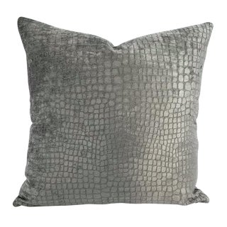 Kravet Finnian Dark Gray Alligator Graphite Pillow Cover For Sale