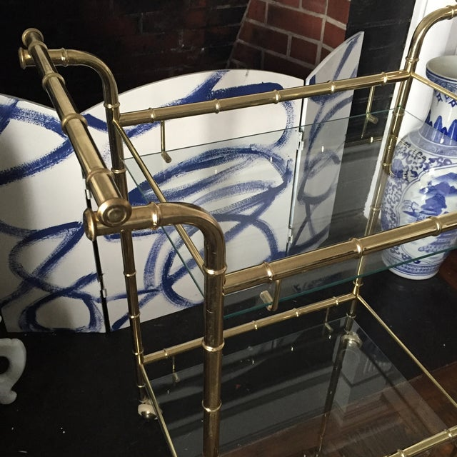 Hollywood Regency Brass Faux Bamboo & Glass Rolling Bar Cart - Image 9 of 11