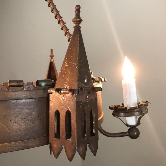 Antique Gothic Wrought Iron Chandelier For Sale - Image 12 of 13
