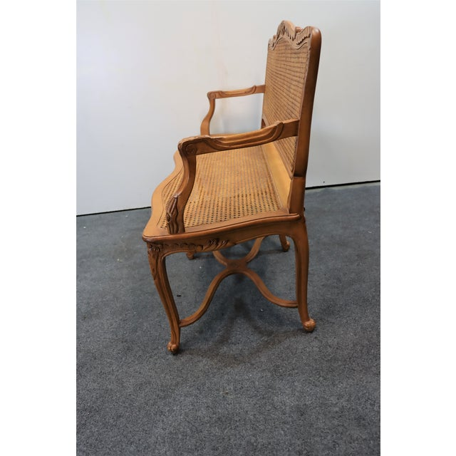 Wood Louis XV Style Walnut and Caned Settee For Sale - Image 7 of 8