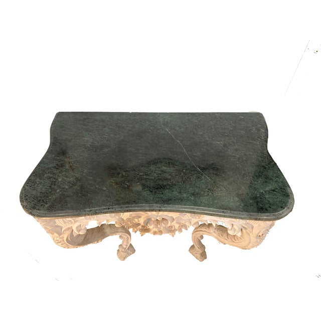 20th Century Shell Carved Italian Marble Wall Console For Sale - Image 4 of 8