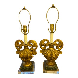 19th C Italian Fragment Lamps on Lucite - a Pair For Sale
