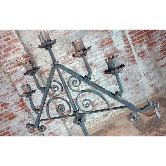 Gothic Antique Spanish Gothic Wrought Iron floor Candelabra For Sale - Image 3 of 12