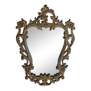 Syroco Rococo French Provincial Gold Scroll Wall Mirror For Sale