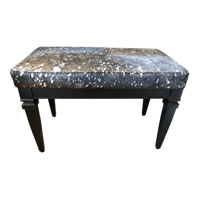 Vintage Black Bench With Silver Splatter Hide Upholstery For Sale