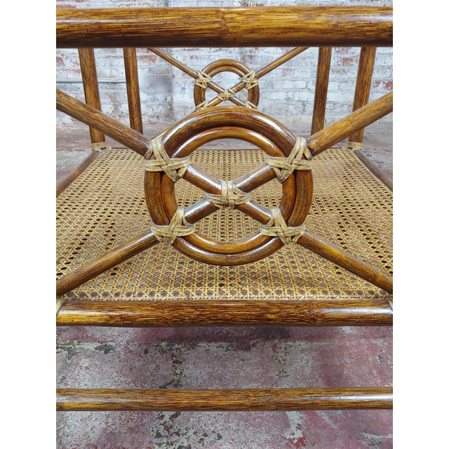 Brown McGuire Bamboo & Glass Top Side Lamp Tables - A Pair For Sale - Image 8 of 11