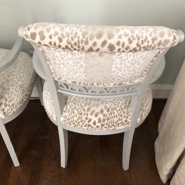 2010s Cowtan & Tout Velvet Leopard Upholstered Gray Arm Side Chairs - a Pair For Sale - Image 5 of 9