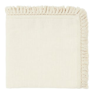 Once Milano Linen Napkin With Short Fringes in White For Sale