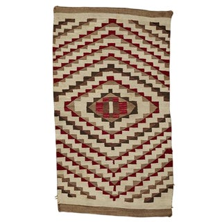 Transitional Navajo Weaving in Natural Tones W/ Aniline Red Circa 1900