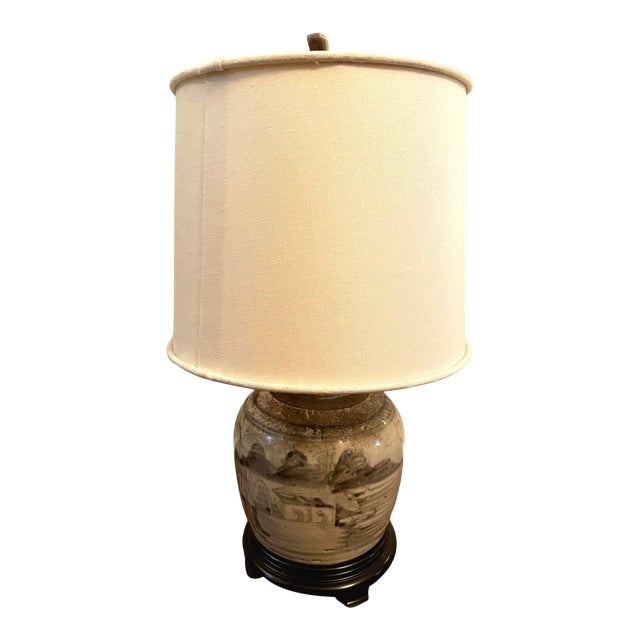 Glazed Chinese Sage Green Ginger Jar Table Lamp With Shade For Sale