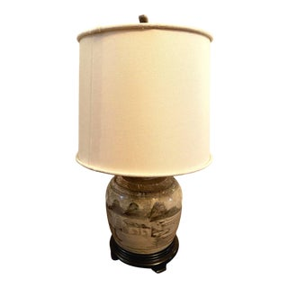 Hand Painted Glazed Chinese Sage Green Ginger Jar Table Lamp With Shade For Sale