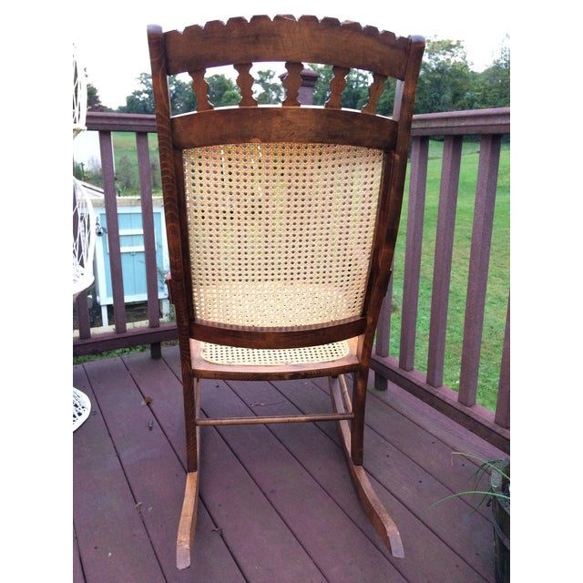 Hand Carved Oak and Cane Rocking Chair - Image 6 of 10 - Hand Carved Oak And Cane Rocking Chair Chairish