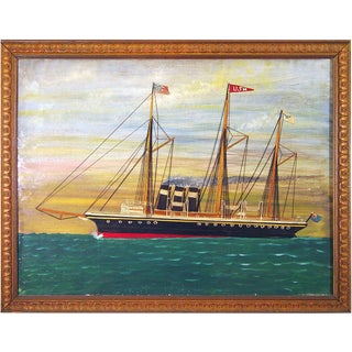 Silk and Canvas Picture of a British Ship in American Waters For Sale