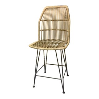 Modern Indonesian Louis Rattan Counter Stool For Sale