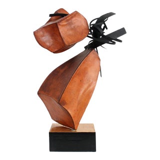 Abstract Leather and Steel Sculpture For Sale