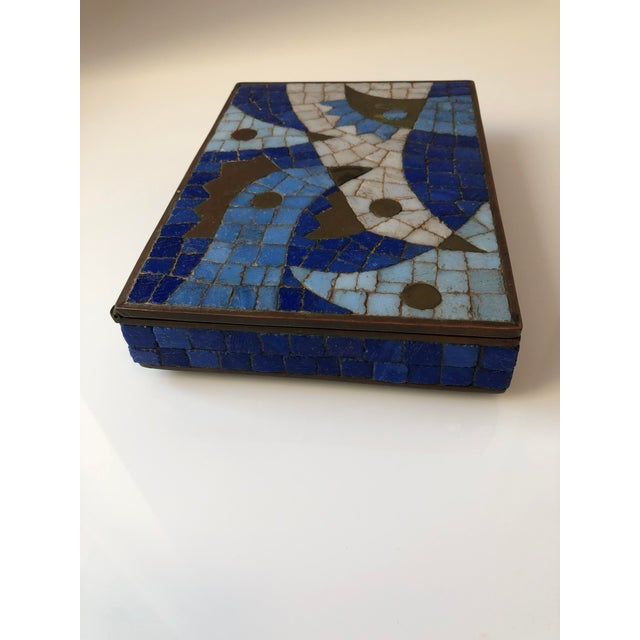 1960s Vintage Salvador Teran Mexican Modernist Brass and Glass Mosaic Box For Sale In Miami - Image 6 of 11