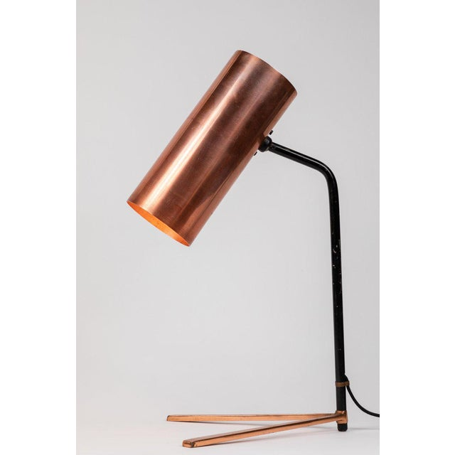 Mid-Century Modern 1950s Stilux Copper and Metal Table Lamp For Sale - Image 3 of 13