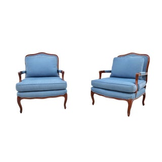 1970s Vintage Classic French Bergere Chairs - A Pair For Sale