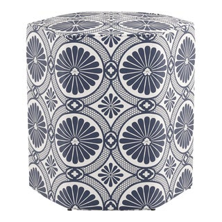 Hexagonal Ottoman in Midnight Lellani For Sale