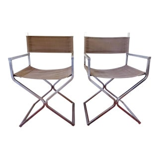 Mid-Century Modern Campaign Director's Chairs - a Pair For Sale