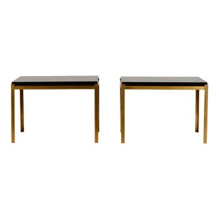 Pair of Chic 'Caisson' Solid Brass and Black Lacquer End Tables by Design Frères For Sale