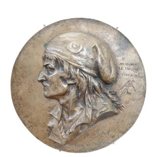 19th Century French Sculpture in Bronze Jean Paul Marat Portrait, 1868 For Sale