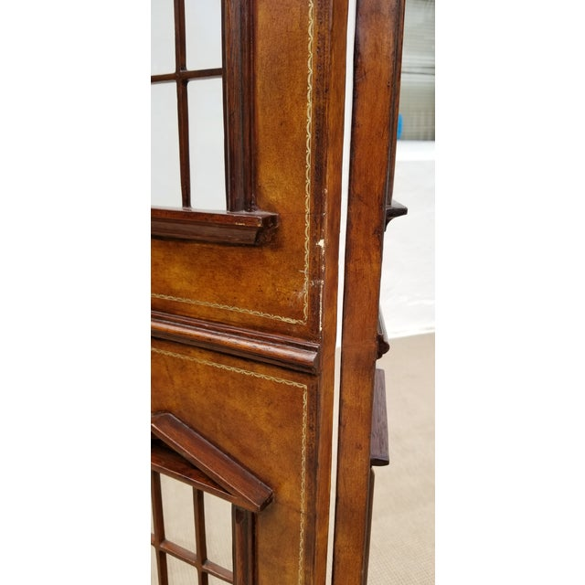 1980s Maitland - Smith Sculptural Leather Wrapped Room Divider For Sale - Image 9 of 13