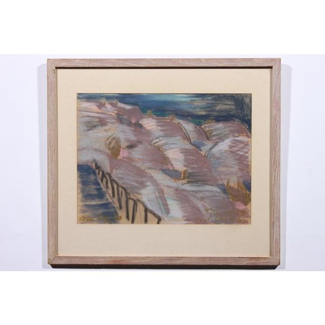 """""""Stairway to Lavender"""" Vintage Pastel Drawing - Image 2 of 3"""