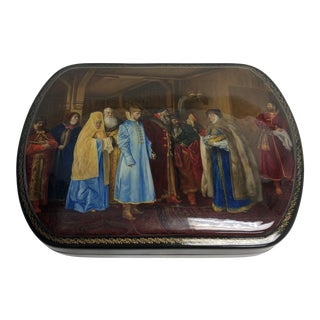 Russian Signed Lacquered Box For Sale