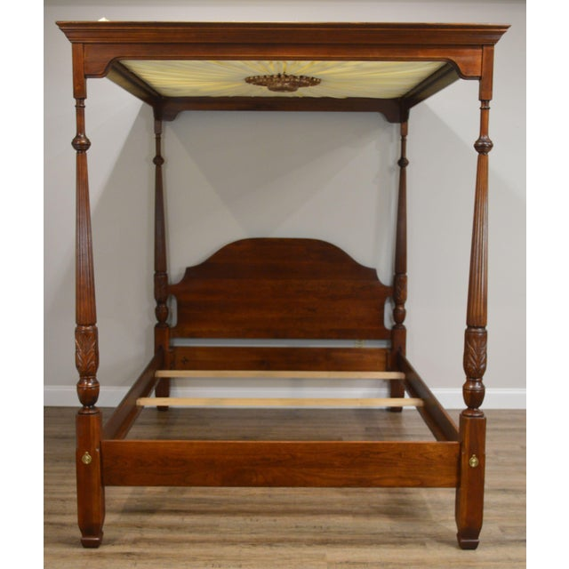 Harden Cherry Queen Size Poster Bed With Custom Canopy For Sale - Image 12 of 13