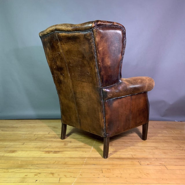 Animal Skin Vintage Stitched-Leather Wing Chair, 20th Century For Sale - Image 7 of 11