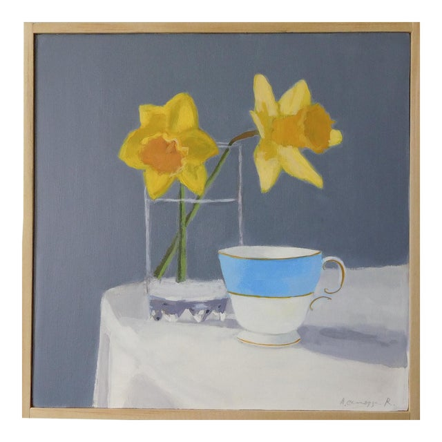 Daffodil and Teacup by Anne Carrozza Remick For Sale