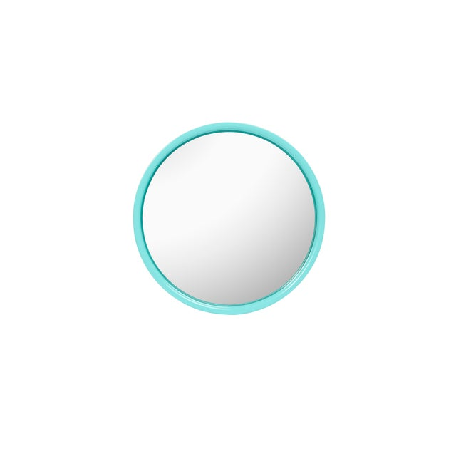 Not Yet Made - Made To Order Pentreath & Hall Collection Small Round Mirror in Olive Green / Tiffany Blue For Sale - Image 5 of 5