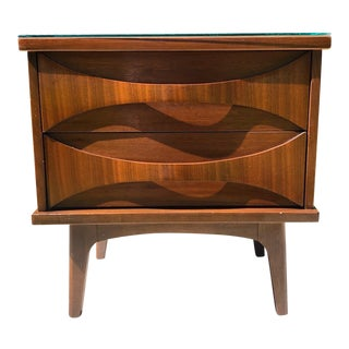 Mid Century Modern Walnut Stained Nightstand For Sale
