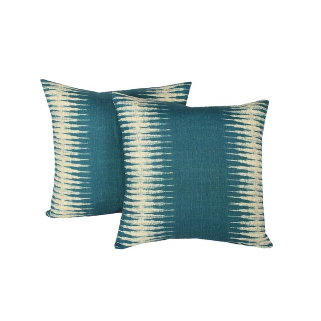 """Pair of custom pillows made from Peter Dunham Textile's Ikat pattern in """"Peacock"""" color fronts, Belgian linen backs with..."""