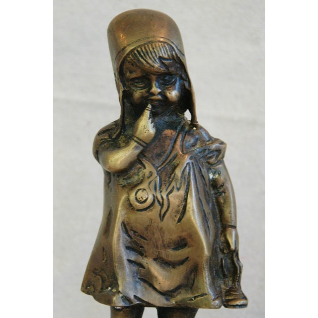 Mediterranean Vintage Juan Clara Style Bronze Girl on Chair For Sale - Image 3 of 6