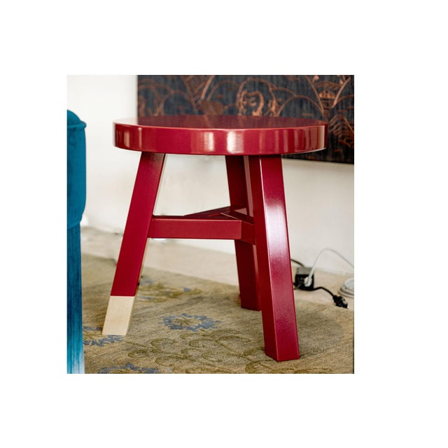 Moooi Mooooi Red Lacquered Solid Birch Merchant Side Table For Sale - Image 4 of 5