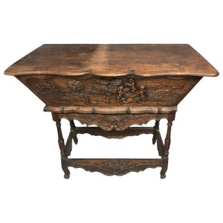 19th Century French Country Carved Wood Bread Making Console For Sale