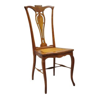 Antique Victorian Mahogany Cane Seat T-Back Side / Desk Chair For Sale