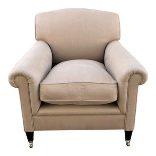 George Smith Full Scroll Arm Chair With Slipcover For Sale