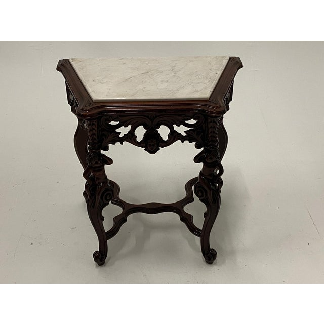 Carved Mahogany Side Table With Marble Top For Sale - Image 9 of 9