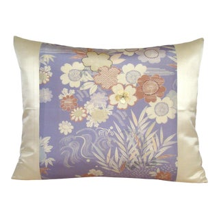 Lavender Floral Japanese Silk Kimono Pillow Cover For Sale