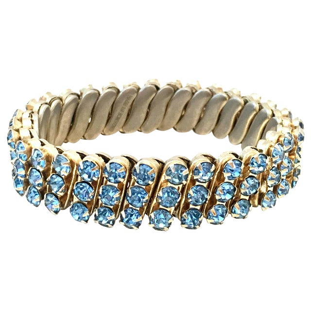 1960's Gold & Sapphire Blue Crystal Rhinestone Expansion Link Bracelet For Sale
