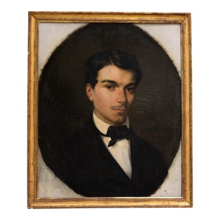 Mid 19th Century Portrait of a Young Man Oil Painting by Gustave-Lucien Marquerie, Framed For Sale