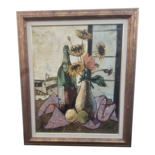 Mid-Century Modern Charles Levier Still Life Oil Painting II For Sale